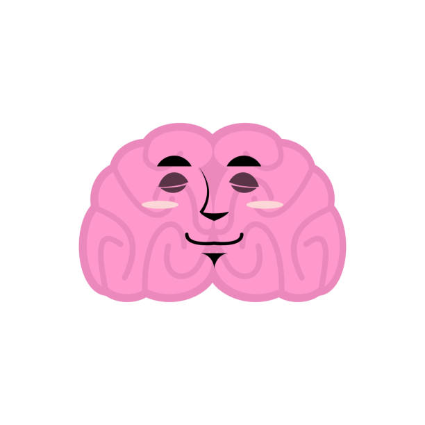 brain asleep emotion. Human brains Emoji sleeping. Isolated Mind vector art illustration