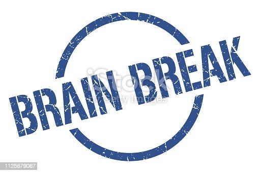 brain break blue round stamp