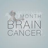 Brain Cancer Awareness Calligraphy Poster Design. Realistic Grey Ribbon. May is Cancer Awareness Month. Vector
