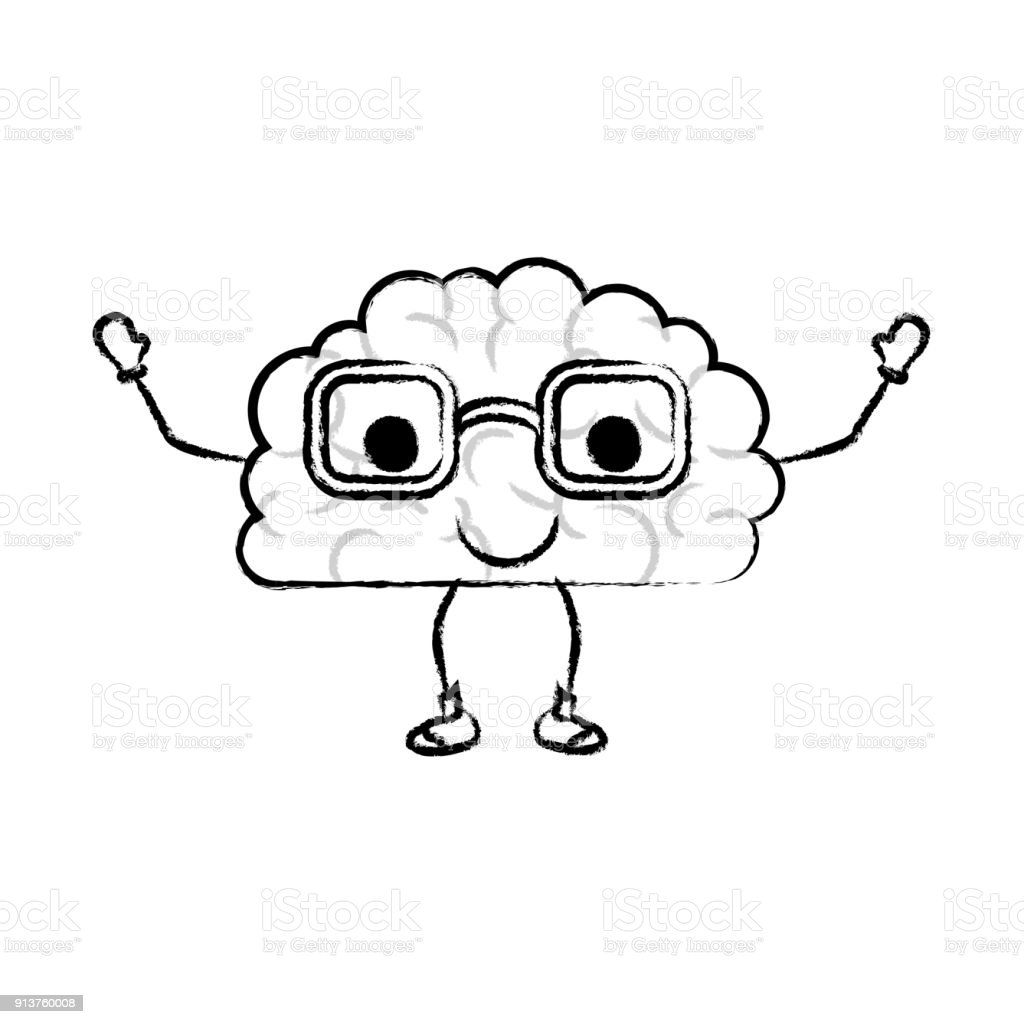 Brain Cartoon With Glasses And Calm Expression In Black Blurred ...