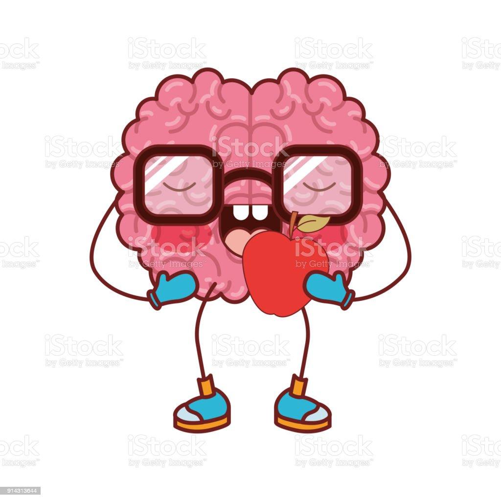 Ilustración de Dibujos Animados De Cerebro Con Gafas Y Comer Manzana ...