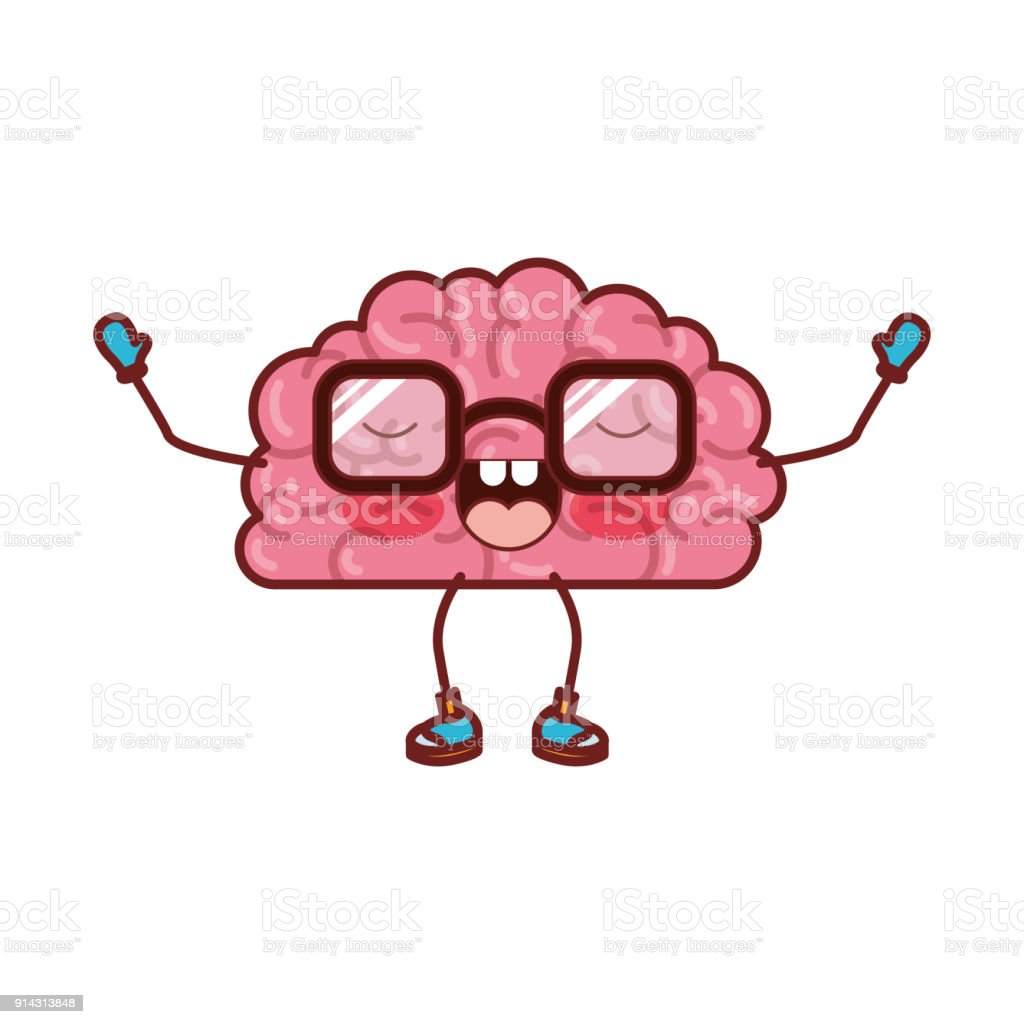 Brain Cartoon With Glasses And Emotional Expression In Colorful ...