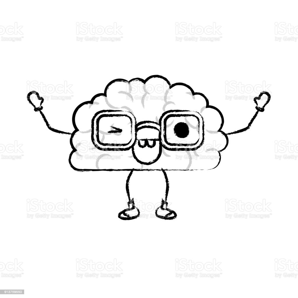 Brain Cartoon With Glasses And Eye Wink Expression In Black Blurred ...