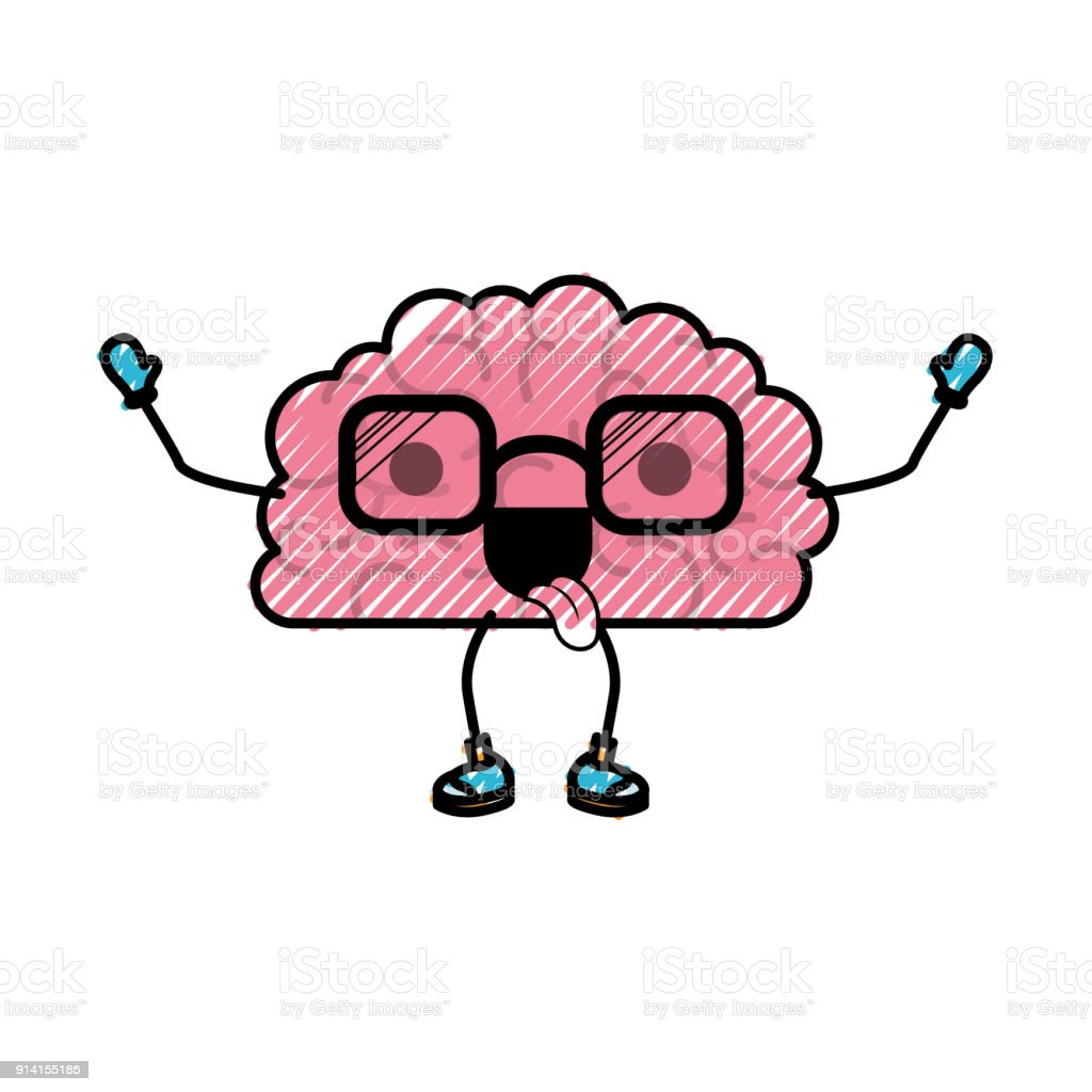 Brain Cartoon With Glasses And Funny Expression In Colored Crayon ...
