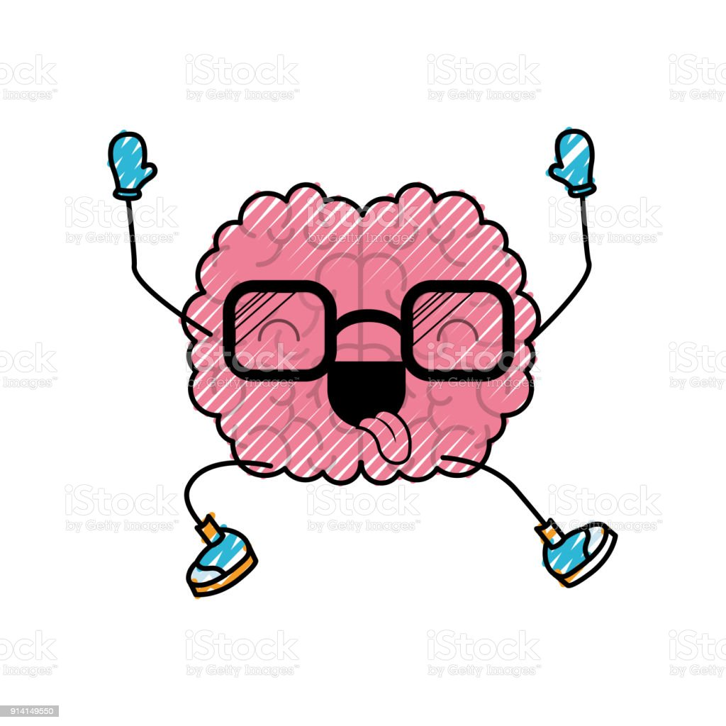 Brain Cartoon With Glasses Jumping For Joy In Colored Crayon ...