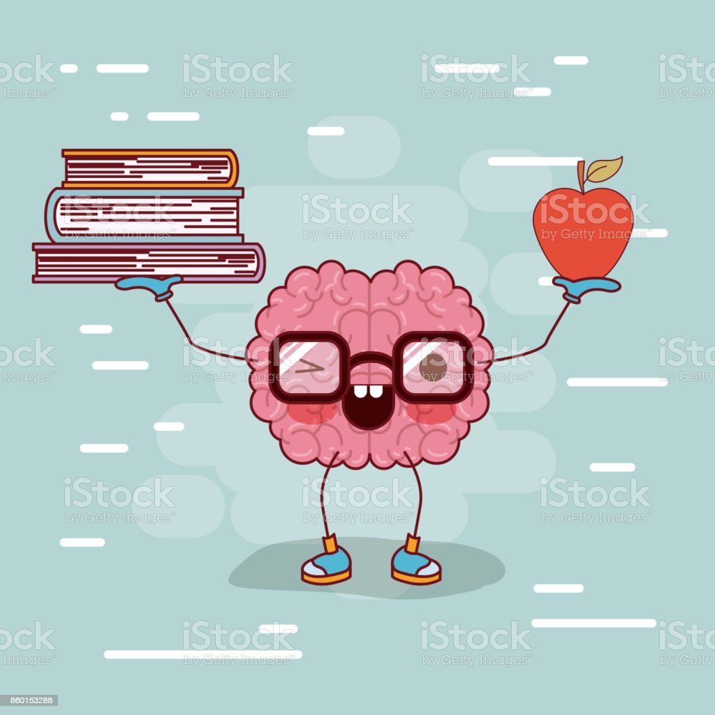 Brain Cartoon With Glasses With Books And Apple In Hands With ...