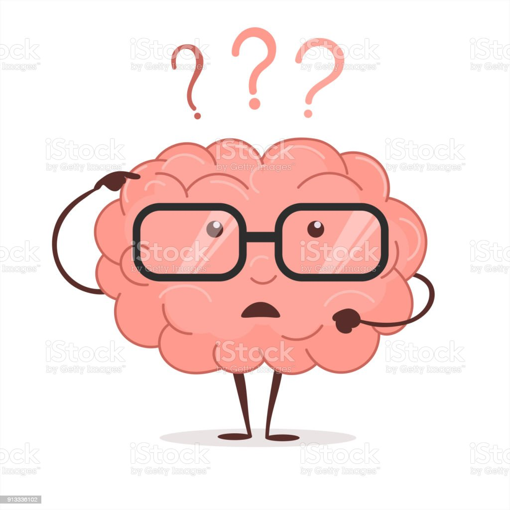 Brain cartoon with questions and glasses, human intellect thinks, Brainstorming. Vector vector art illustration