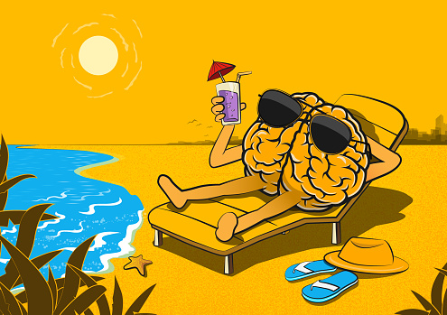 Brain Character Relax on The Beach