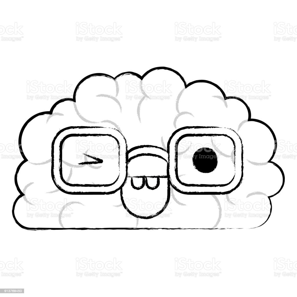 Brain Character With Glasses And Eye Wink Expression In Black ...