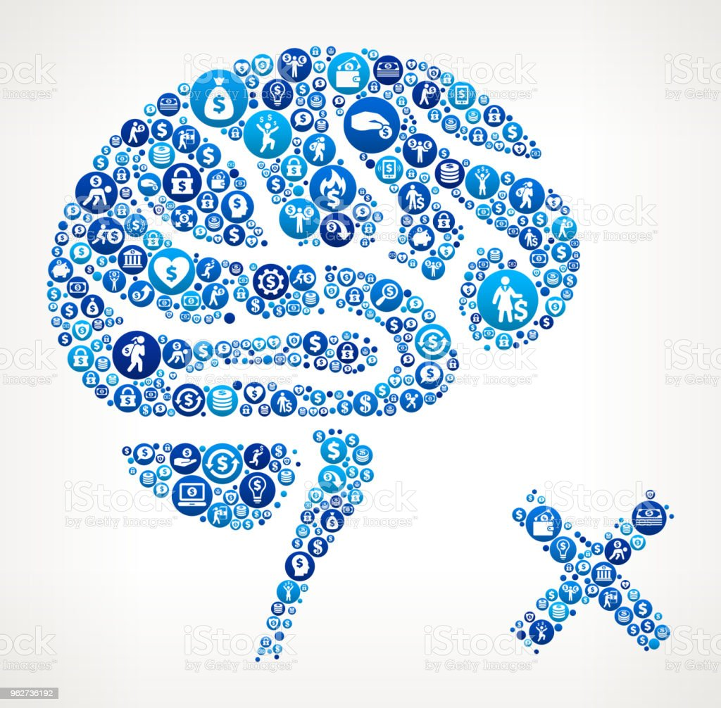 Brain Check Money Blue Icon Pattern Background - arte vettoriale royalty-free di Affari