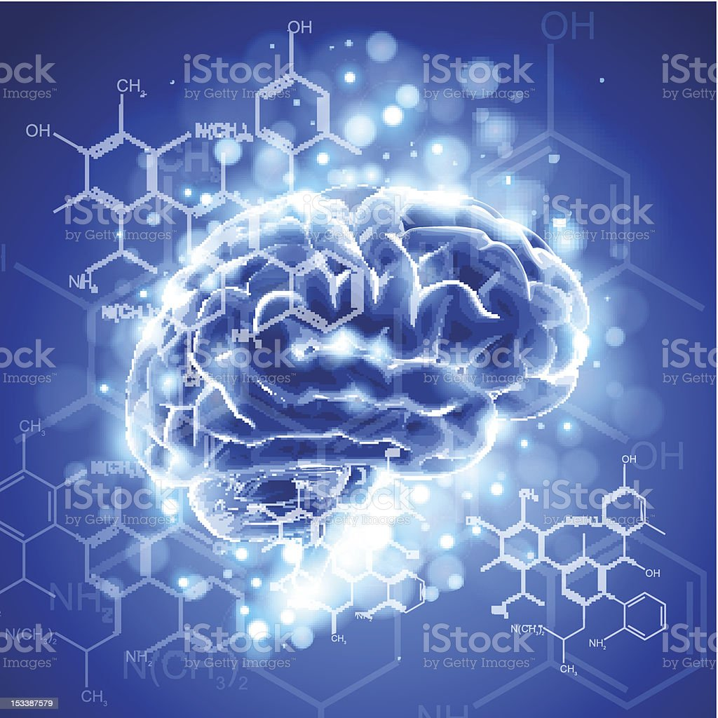 brain, chemical formulas & lights royalty-free brain chemical formulas lights stock vector art & more images of anatomy