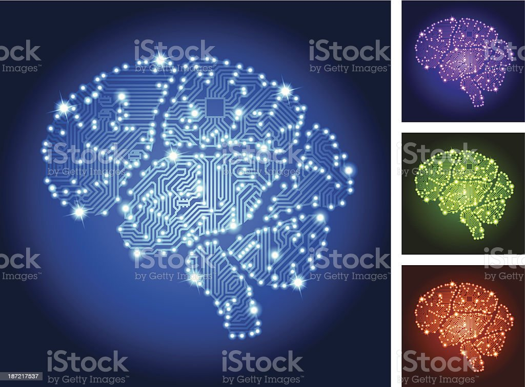 Brain Circuit Board Color Set vector art illustration