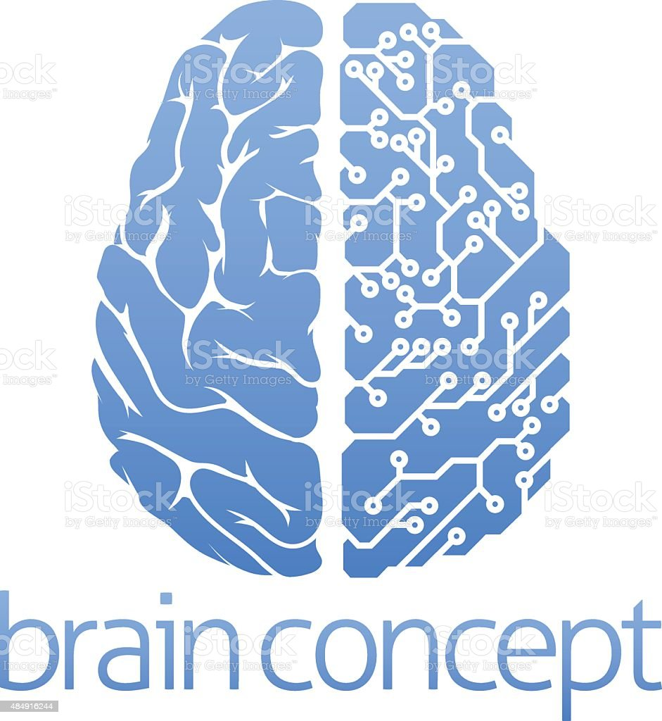 Brain circuit board concept vector art illustration
