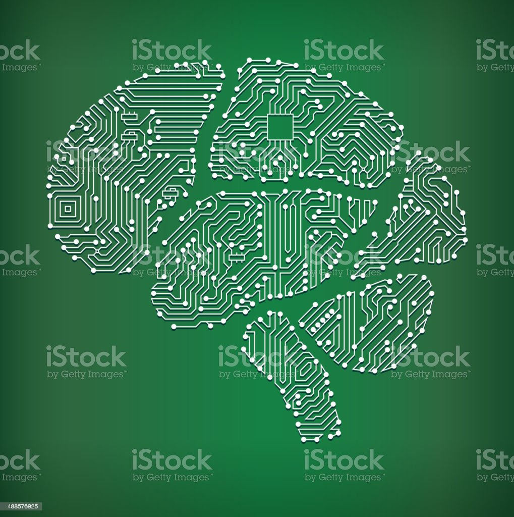 Brain Circuit Board royalty free vector art background vector art illustration