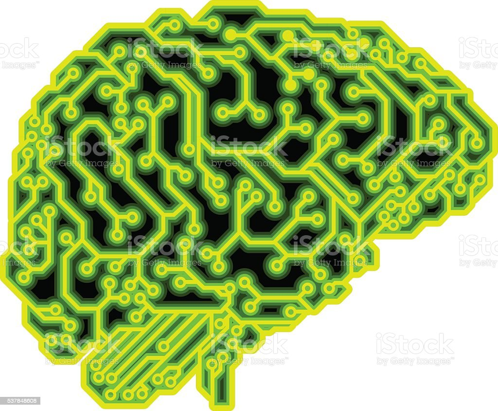 Brain Circuit Concept vector art illustration