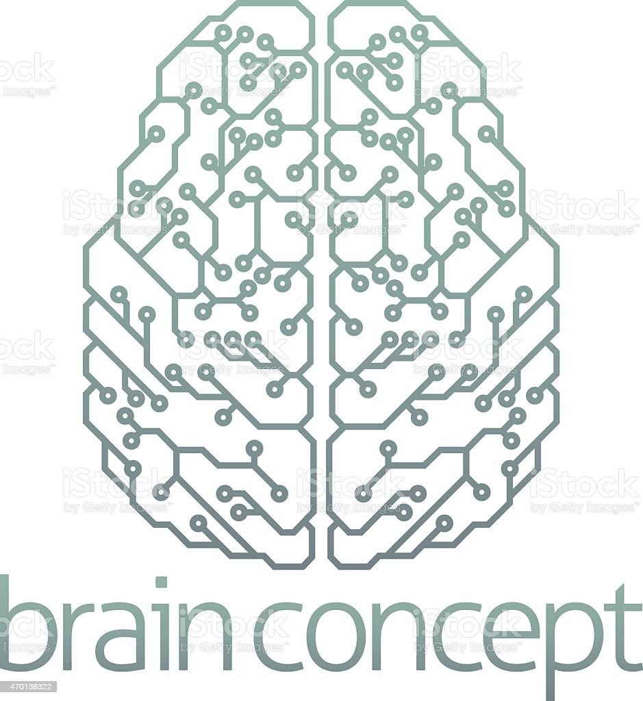 Brain computer circuit design vector art illustration