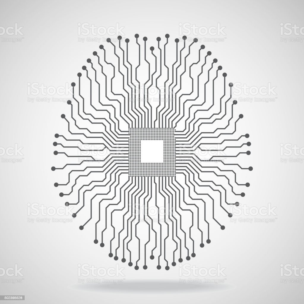 Brain. Cpu. Circuit board vector art illustration