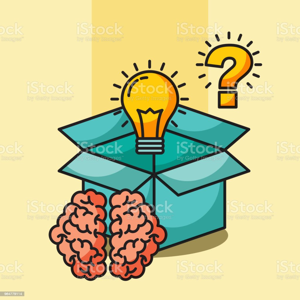 brain creative idea box bulb question royalty-free brain creative idea box bulb question stock vector art & more images of advice