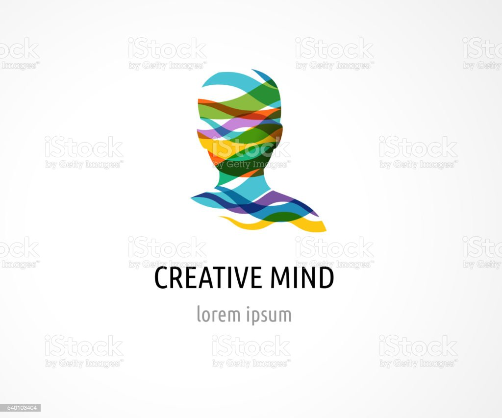 Brain, Creative mind, man head, learning and design icons vector art illustration