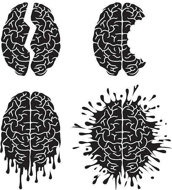 Brain damage vector art illustration