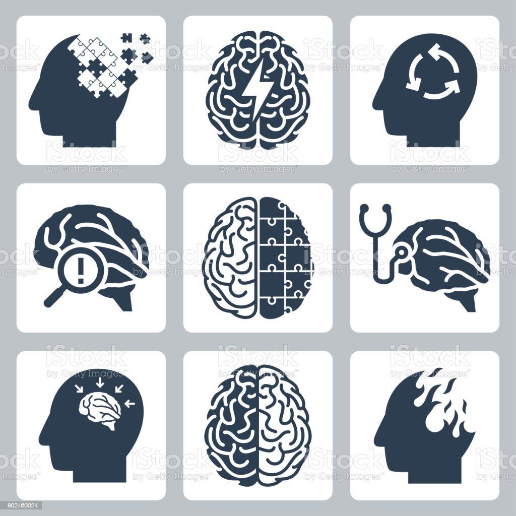 Brain degenerative deseases, memory loss related icon set vector art illustration