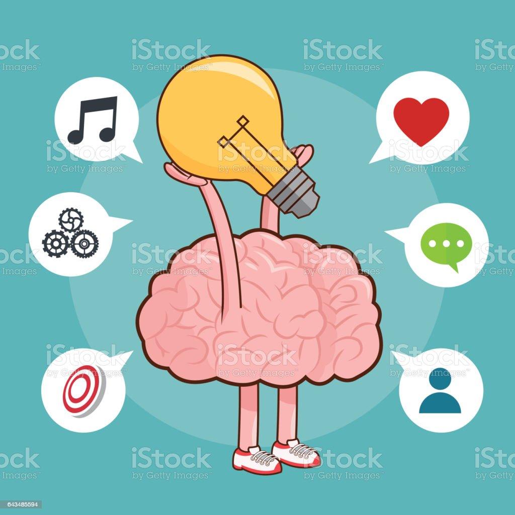 Brain Design Organ Icon Flat Illustration Vector Graphic Stock ...