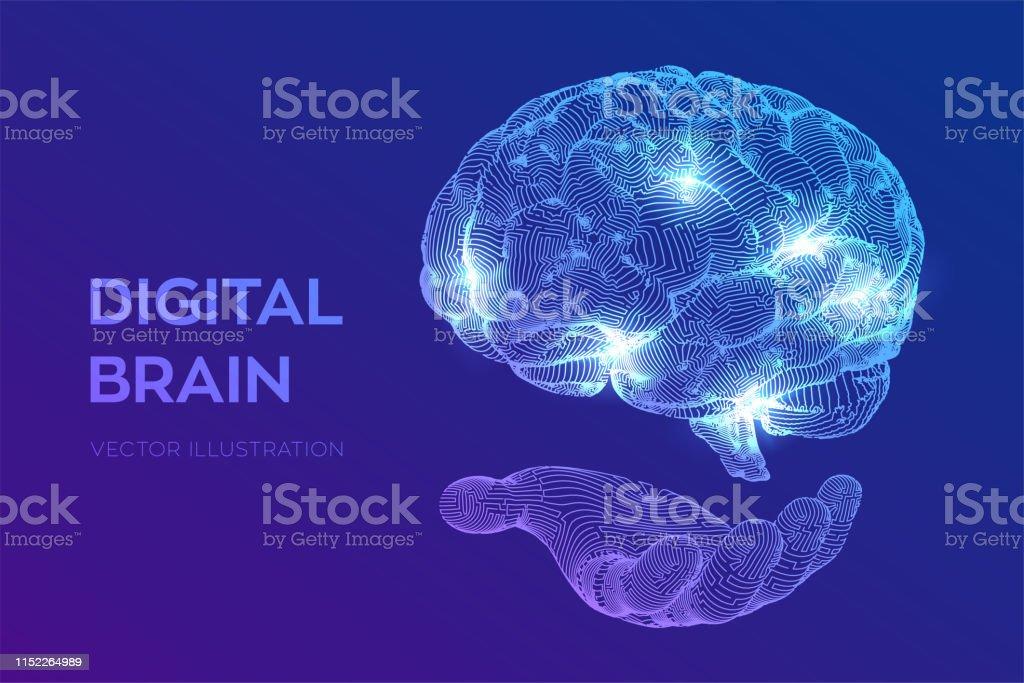 Brain. Digital brain in hand. 3D Science and Technology concept. Neural network. IQ testing, artificial intelligence virtual emulation science technology. Brainstorm think idea. Vector illustration. - Векторная графика Абстрактный роялти-фри