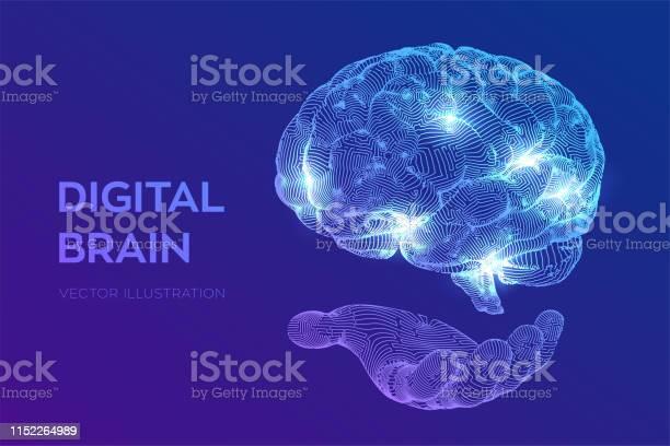 Brain Digital Brain In Hand 3d Science And Technology Concept Neural Network Iq Testing Artificial Intelligence Virtual Emulation Science Technology Brainstorm Think Idea Vector Illustration — стоковая векторная графика и другие изображения на тему Абстрактный