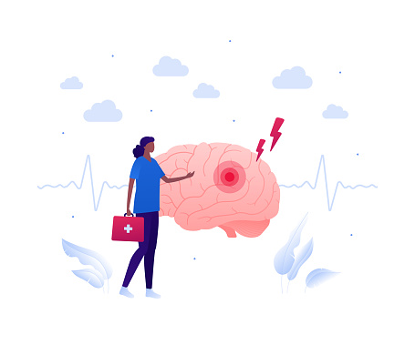 Brain disease and neurosurgery concept. Vector flat people illustration. African american female doctor with first aid kit standing. Neurology illness and stroke symbol. Design for health care.