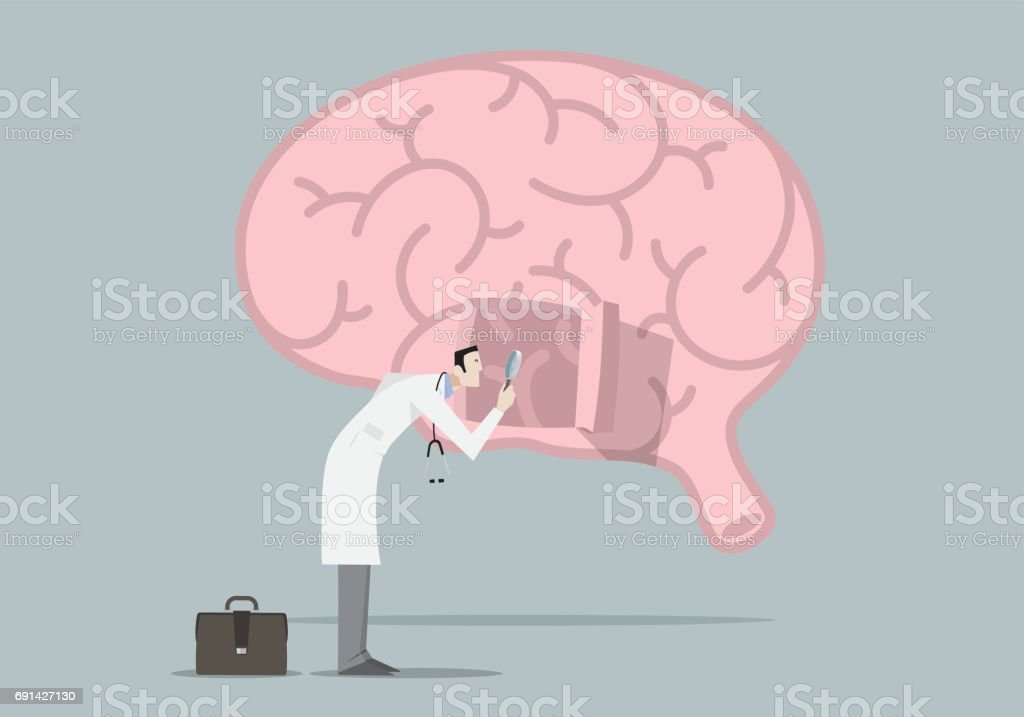 Brain Diseases Research Concept vector art illustration