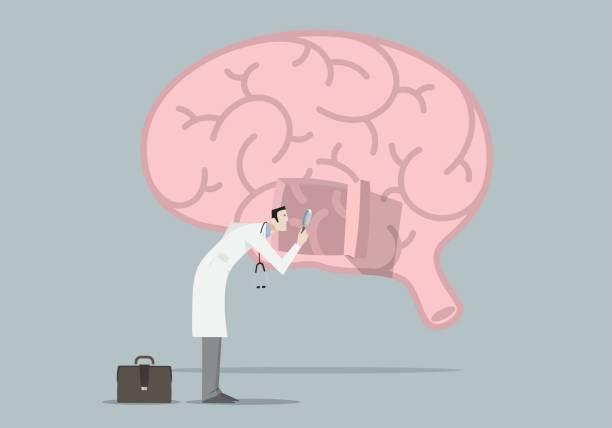 bildbanksillustrationer, clip art samt tecknat material och ikoner med hjärnans sjukdomar forskning koncept - brain magnifying