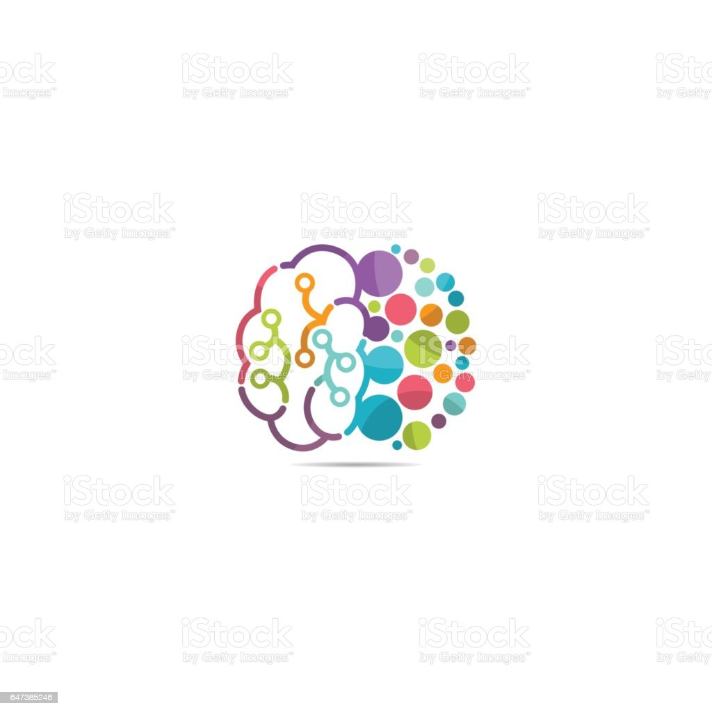 Brain dot logo vector art illustration