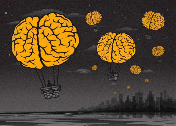 brain drain-brain heißluftballons - surreal stock-grafiken, -clipart, -cartoons und -symbole
