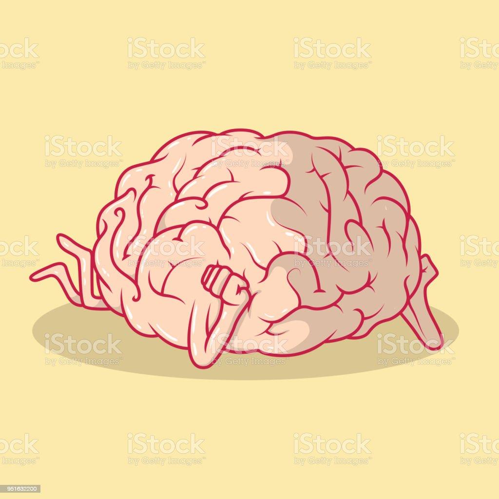Brain dreaming vector illustration vector art illustration