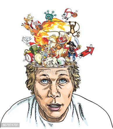 A guy's head is exploding because he has had sooo many creative thoughts.