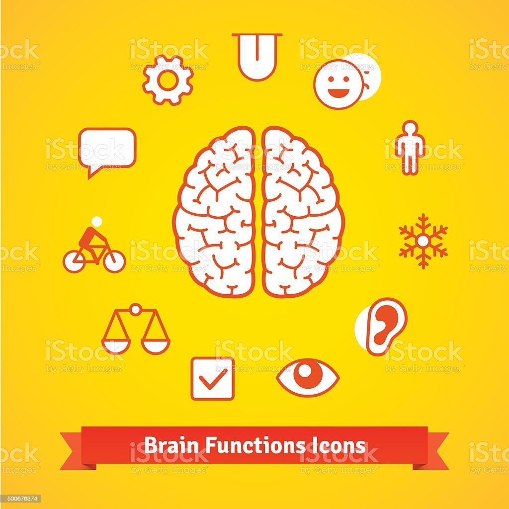 Brain function icons set vector art illustration