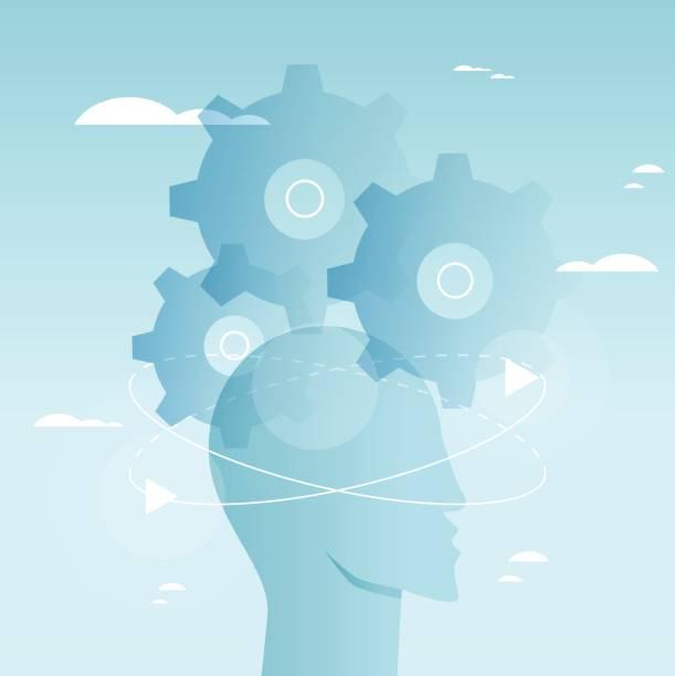 Brain functioning vector art illustration