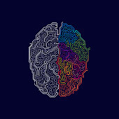 vector of left and right brain in futuristic style, concept of functions of two sides of brain