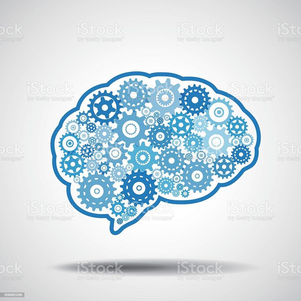 Brain gear. AI artificial intelligence concept. vector art illustration