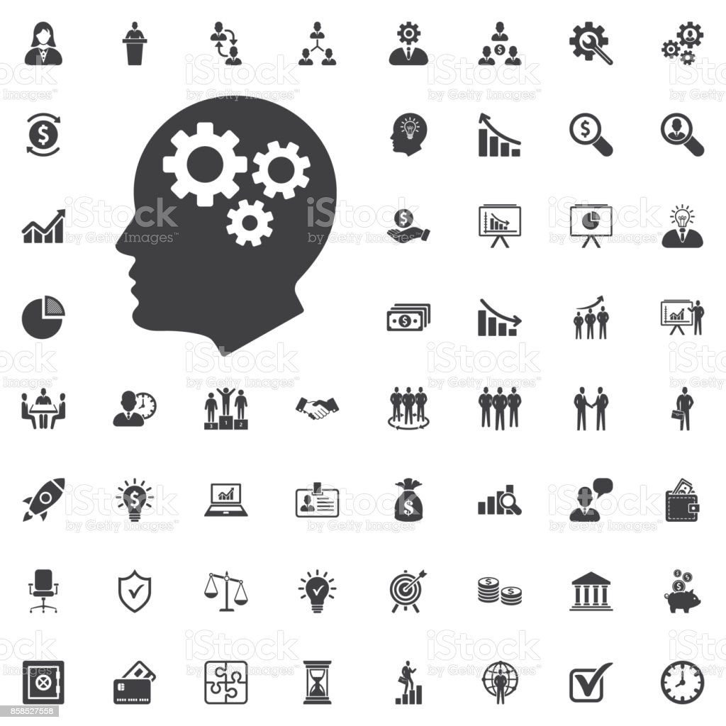 Brain Gears vector icon vector art illustration