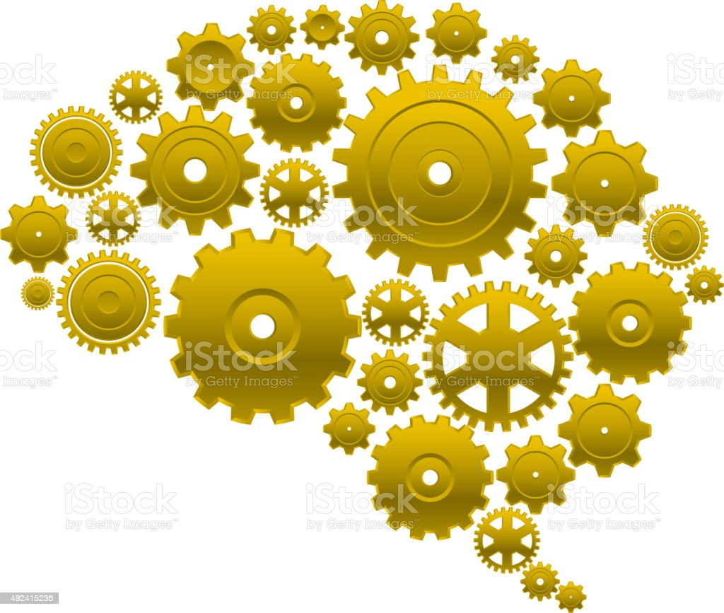 Brain gears vector art illustration