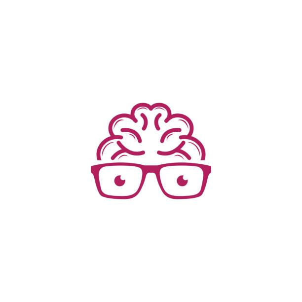 gehirn-geek-logo-design-vorlage - uncool stock-grafiken, -clipart, -cartoons und -symbole