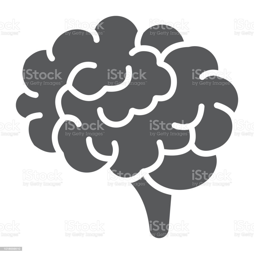Brain glyph icon, anatomy and neurology, human organ sign, vector graphics, a solid pattern on a white background, eps 10. - illustrazione arte vettoriale