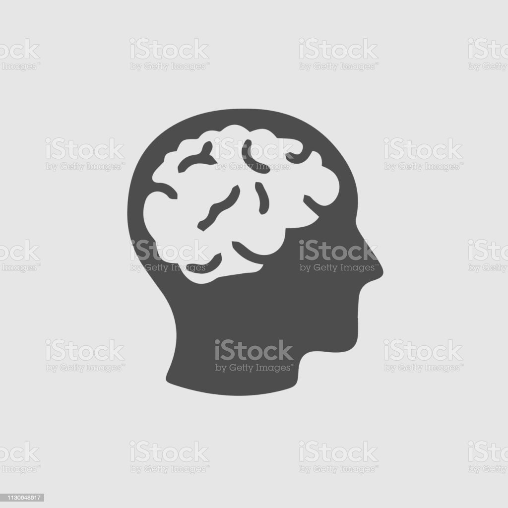 Brain head vector icon - illustrazione arte vettoriale