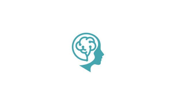 gehirn gesundheitstechnologie logo symbol vektor - menschlicher kopf stock-grafiken, -clipart, -cartoons und -symbole