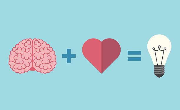 mózg, serce i żarówka - inteligencja stock illustrations