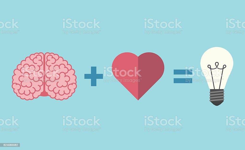 Brain, heart and lightbulb vector art illustration
