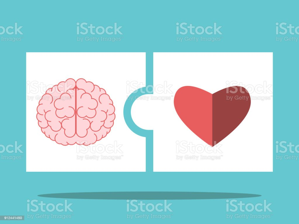Brain, heart puzzle pieces vector art illustration