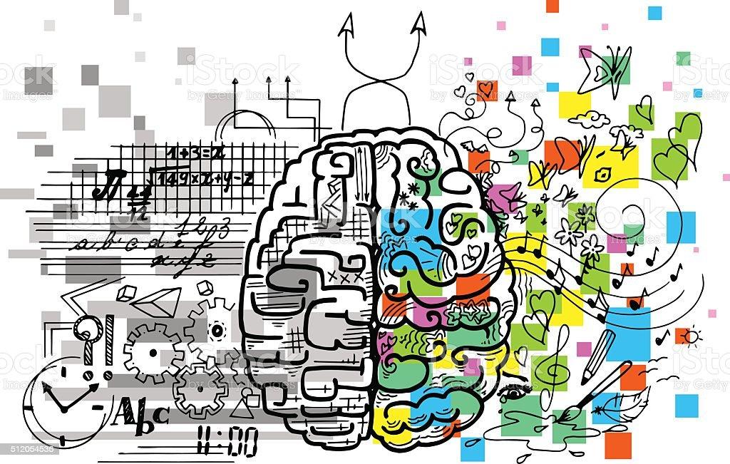 Brain hemispheres vector vector art illustration