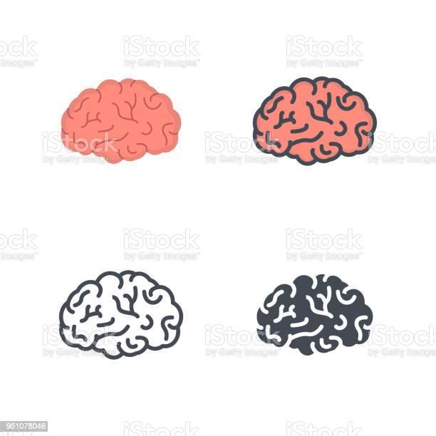 Brain Human Organs Medicine Vector Flat Line Silhouette Colored Icon — стоковая векторная графика и другие изображения на тему Анатомия